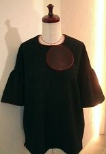 BLACK JACQUARD RED PIPED TRIM BACK BUTTON COCOON SLEEVE TOP BLOUSE 8 9 COCOdake