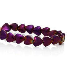 30 X Grade A Hematite Purple Heart Beads 6 X 6 mm