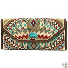 Mary Frances Turquoise Power Beaded Clutch Crossbody Handbag Tq Red Browns New
