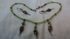 17 Inch Sterling Peridot Bead Necklace With 3 Large Peridot Dangles and Earrings