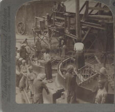 STEREOVIEW OF WORKERS AT A BURMA RUBY MILL - MOGOK, BURMA