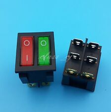 2Pcs Red and Green LED Double ON/OFF 6Pin Rocker Switch Panel Mount