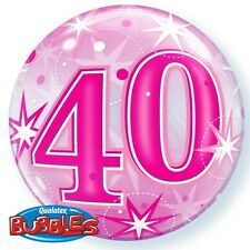"40th Birthday Party Decoration 22"" Pink Sparkle Bubble Balloon"