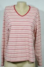 SONOMA Red/Pink/Cream Striped V-Neck Top Large Long Sleeves Stretch Cotton