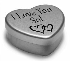 I Love You Sol Mini Heart Tin Gift For I Heart Sol With Chocolates or Mints