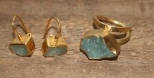 18K yellow gold 750 Modern Ring and Earrings Set Blue Aquamarine Rare Greece