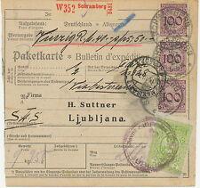 DT.REICH 1926 Pra.-Paketkarte für 10 kg Paket frankiert m Korbdeckelmuster 100Pf