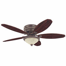 "Hunter 52"" Ceiling Fan & Light Flush Mount St Michaels Egyptian Bronze 54077"