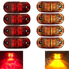 "8pcs 2.5"" Oval Truck LED Front Side Rear Marker Lights Trailer Red/Amber 10-30V"
