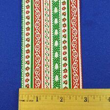"""Vintage Lion Craft Ribbon Trim Christmas Stripes Calico """"Gaiety""""-2 3/4"""" x 10 Y"""