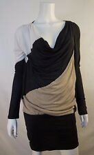 BCBG Max Mara Black Ivory Brown Colorblock Tunic Top sz M