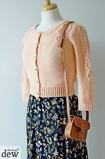 TOPSHOP peach 1940's vintage cardigan WARM cable knit LAND GIRL WW2 spring 8 10