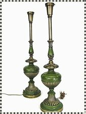 Vintage Pair Mid Century Modern Rembrandt ? Brass and Green Metal Tall Lamps