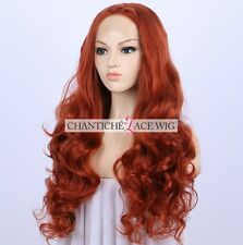 Women's Synthetic Full Wig Copper Red Long Wavy Lace Front Wigs Heat Friendly UK