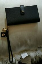 New Henri Bendel 57th Wristlet Wallet Clutch Cell Purse Black Saffiano Leather