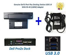Genuine Dell E-Port Plus USB 3.0 Docking Station + PA-4E Power Adapter