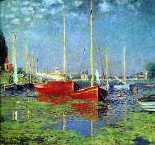 The Red Boats, Argenteuil   by Claude Monet Giclee Fine Art Canvas Print