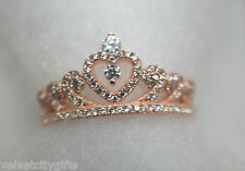 Unusual Solid Silver Pink Gold  Princess Tiara Ring Size K L Ladies Gift