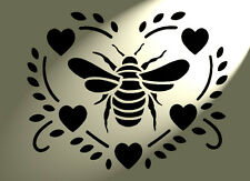Shabby Chic Stencil Bee Heart Rustic Vintage style A4 297x210mm furniture French