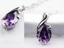 Silver Amethyst Natural Crystal Healing Point Chakra Stone Pendant Necklace
