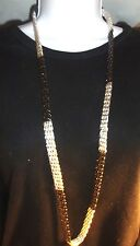 """MACY'S SILVER TONE & BLACK INTERWOVEN MESH CHUNKY NECKLACE 38""""   NWT"""