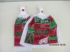 2 Hanging Kitchen Dish Towels With Crochet Tops Christmas Peppermint Bark Recipe