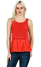 2015 NWT WOMENS VOLCOM LOST HIGHWAY TANK TOP $40 S blood red vintage fringe