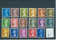 GB  MACHIN DEFINITIVES - D - 4p to 38p - 17 values - FINE USED. ELLIPTICAL PERFS