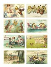 Easter Stickers Vintage Victorian Postcard Reproducti​ons Bunnies 16 Total
