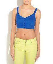 NEW LOOK Blue Cotton Button Front Bralet Crop Top BNWT UK L 10 12 Stretch SALE