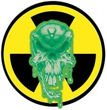 RADIOACTIVE SKULL BUMPER STICKER LAPTOP STICKER ROUND