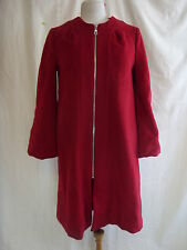 Ladies Coat - GAP, size 10, red, zip up, unusual, 90% wool 5% angora, nice 2014