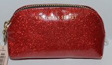 DAMAGED VICTORIA'S SECRET RED GLITTER MAKEUP COSMETIC CASE BAG CLUTCH SMALL