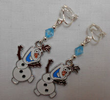 Handmade clip on earrings Disney Frozen Olaf Snowman silver plated blue beads