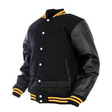 Varsity College Baseball Jacket Wool and Genuine Leather Sleeves SZ XXS~4XL