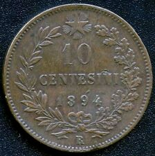 Italy 1894 'R' 10 Centesimi Coin