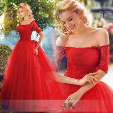Red Lace Short Sleeves Wedding Dresses Quinceanera Prom Party Pageant Ball Gown
