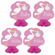 """""""BABY GIRL STORK"""" BABY SHOWER Mini HONEYCOMB DECORATIONS 6""""High Party Supplies"""