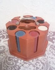 Vintage 1980s? Unused/Sealed Poker Chips  and Wooden Caddy  NEW