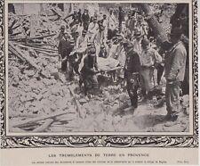 1909  --  TREMBLEMENT DE TERRE DE ROGNES  SOLDATS DANS LES DECOMBRES  3C825