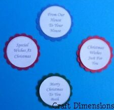SCALLOPED CIRCLE MIXED CHRISTMAS WORD SENTIMENTS FOR CARD TOPPERS