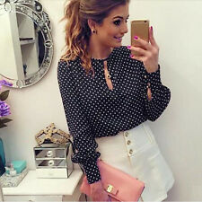 Womens Elegant OL Blouse Casual Long Sleeve Blouses Polka Dot Chiffon Shirt Tops