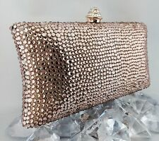 Luxury Pillow Evening Bag With Rose/Peach Swarovski Crystal Party Purse Clutch