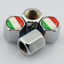 Auto Air Wheel Tire Valve Cap Hat Covers Italy Italian IT Flag Silver Style 4pcs