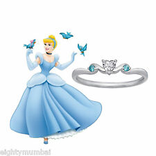 White Diamond & Blue Topaz .925 Sterling Silver Disney Princess Cinderella Ring