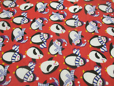 Red Penguin, Penguins Christmas Printed Polycotton Fabric
