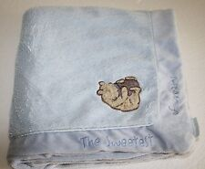 Winnie the Pooh Blue Baby Blanket Disney Classic The Sweetest Dreams Honey Pot