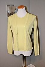TSE LIGHT GREEN CHARTREUSE 100% PURE WOOL CARDIGAN & TOP TWINSET S NEW