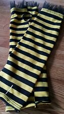 YELLOW & BLACK STRIPED HAND WARMERS/ARMBANDS/MITTS GOTHIC/ FANCY DRESS HALLOWEEN