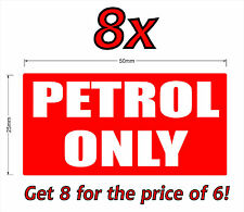 8x50mm PETROL ONLY sticker.Car,4x4,boat,generator,mower,machinery.Fuel resistant